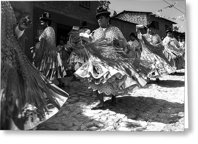 Bolivian Dance Black And White Greeting Card