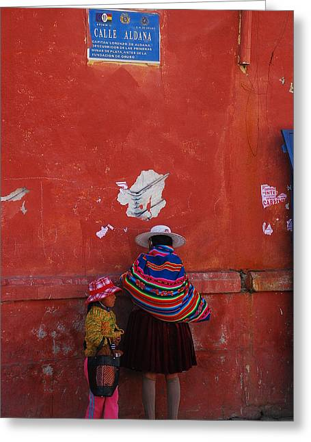 Bolivian Lady In Typical Suit Greeting Card by Juan Gnecco