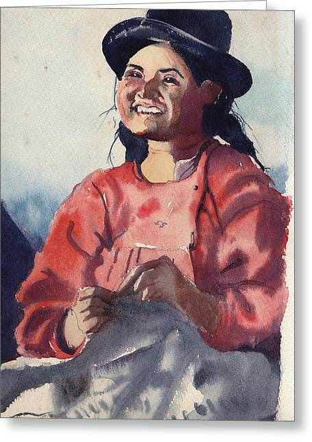 Bolivian Seamstress Greeting Card