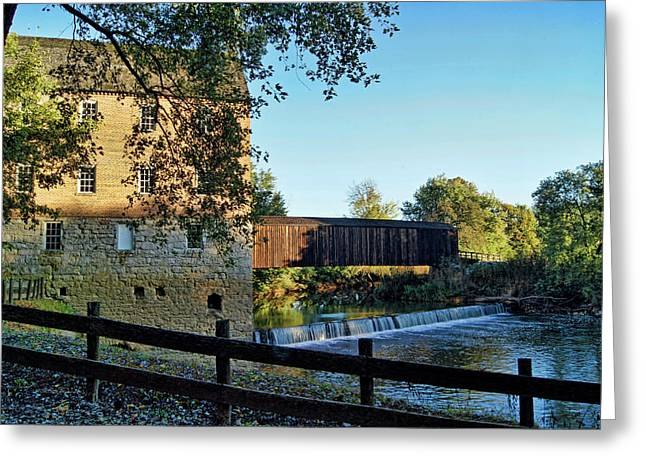 Greeting Card featuring the photograph Bollinger Mill And Bridge by Cricket Hackmann