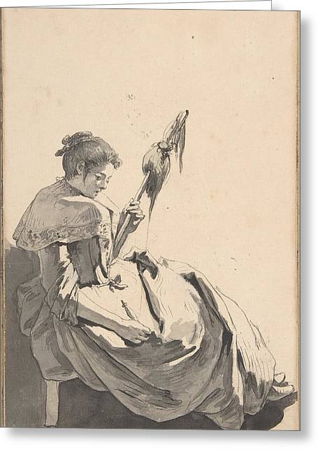 Bolognese Peasant Girl With A Distaff Greeting Card by Jean Baptiste