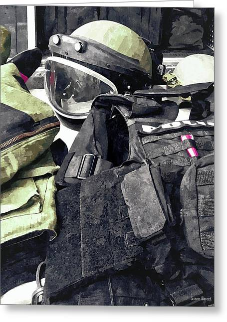 Bomb Squad Uniform Greeting Card by Susan Savad