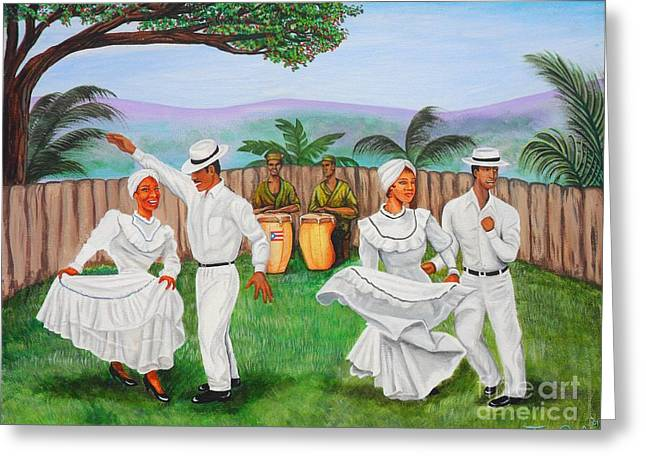 Bomba Dance Greeting Card by Juan Gonzalez