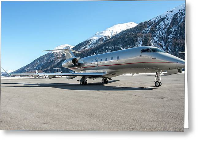 Bombardier Challenger 350 Just Landed At Samedan. Greeting Card by Roberto Chiartano