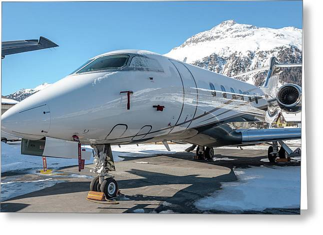 Bombardier Challenger 350 Se-rma Snowed Greeting Card by Roberto Chiartano