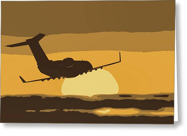 Bombardier Crj-200er Flying Sunset Greeting Card