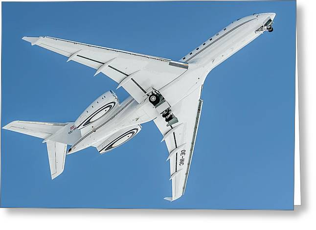 Bombardier Global 5000 Oe-inc Take Off Bottom Greeting Card by Roberto Chiartano