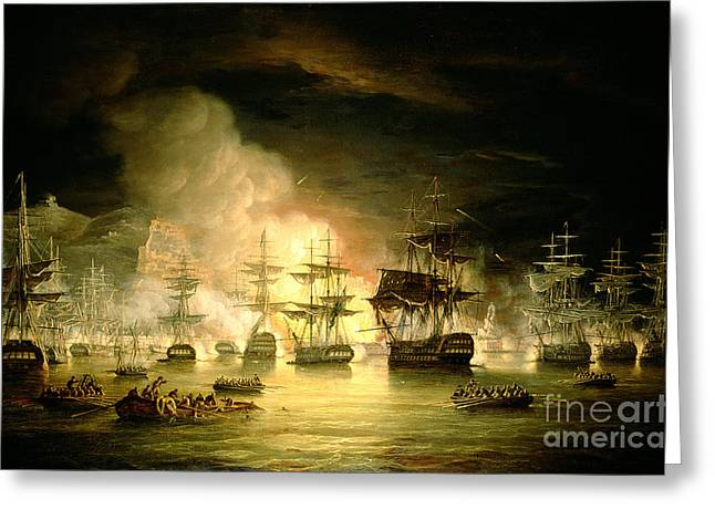 Flames Paintings Greeting Cards - Bombardment of Algiers Greeting Card by Thomas Luny