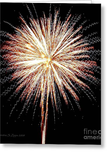 Bombs Bursting In Air Greeting Card by Christine S Zipps