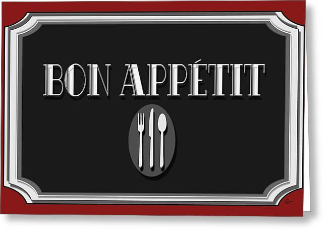 Bon Appetit Art Deco Style Sign Greeting Card