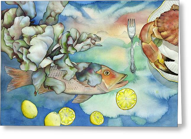 Bon Appetit Together Left Image Greeting Card by Liduine Bekman