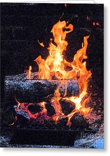 Greeting Card featuring the photograph Bon Fire In Fresco by Margie Avellino