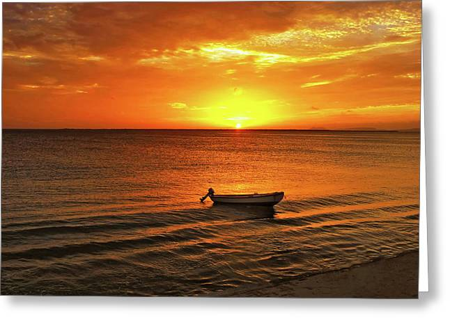 Bonaire Sunset 4 Greeting Card by Stephen Anderson
