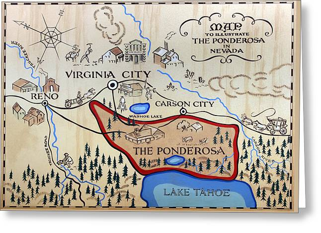 Bonanza Series Ponderosa Map  1959 Greeting Card by Daniel Hagerman