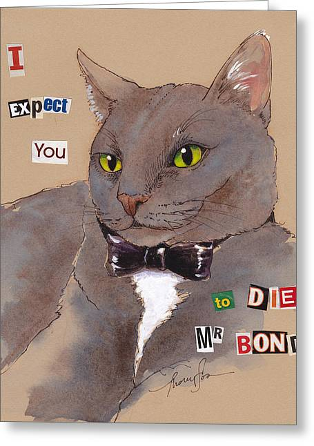 Bond Villain Kitty Greeting Card by Tracie Thompson