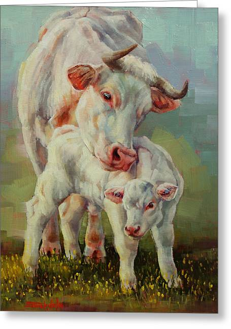 Bonded Cow And Calf Greeting Card by Margaret Stockdale