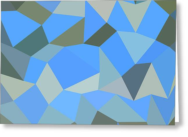 Bondi Blue Abstract Low Polygon Background Greeting Card by Aloysius Patrimonio