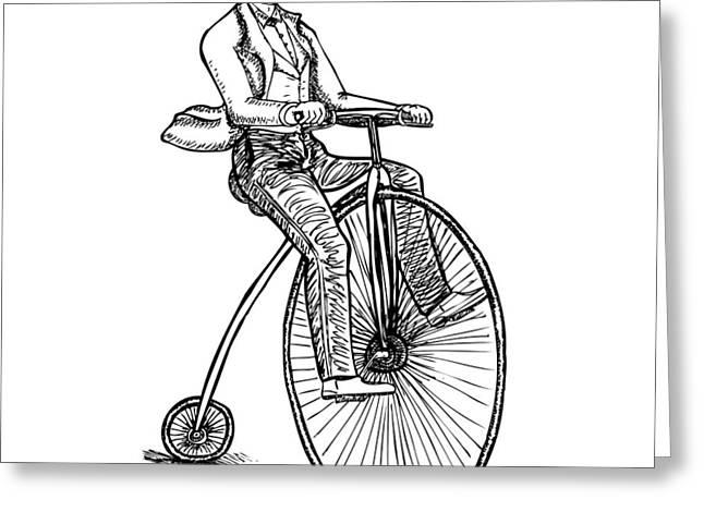 Boneshaker Velocipede Bicycle Greeting Card by Karl Addison