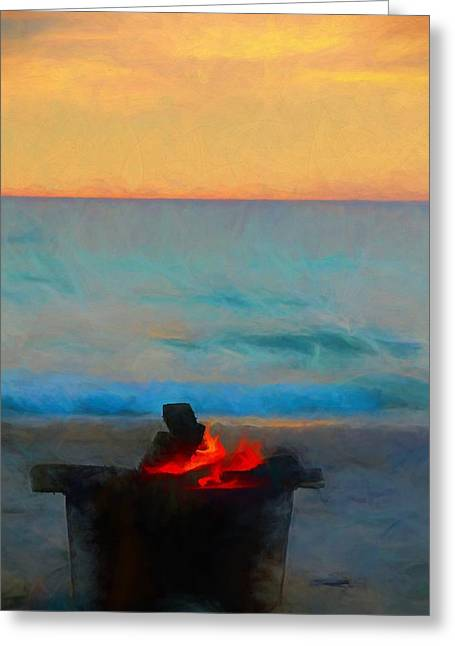 Bonfire On The Beach Greeting Card by Dan Sproul