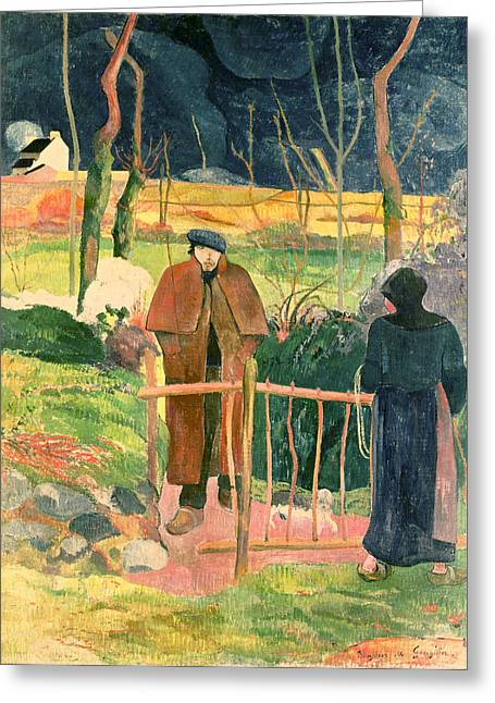 Bonjour Monsieur Gauguin Greeting Card by Paul Gauguin