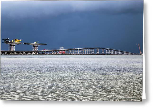 Greeting Card featuring the photograph Bonner Bridge Replacement by Alan Raasch