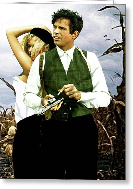 Bonnie And Clyde Greeting Card by Thomas Pollart