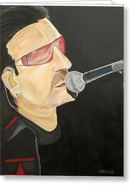 Bono Greeting Card by Colin O neill