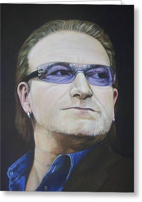 Bono Greeting Card by Eamon Doyle
