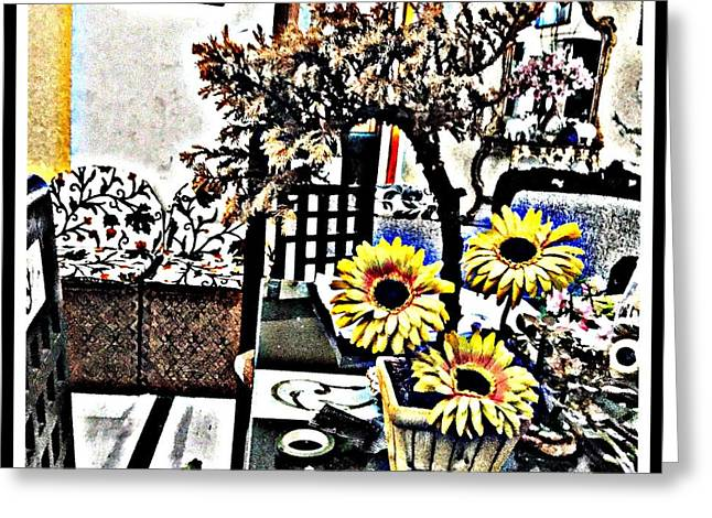 Bonsai And Sunflowers  Greeting Card