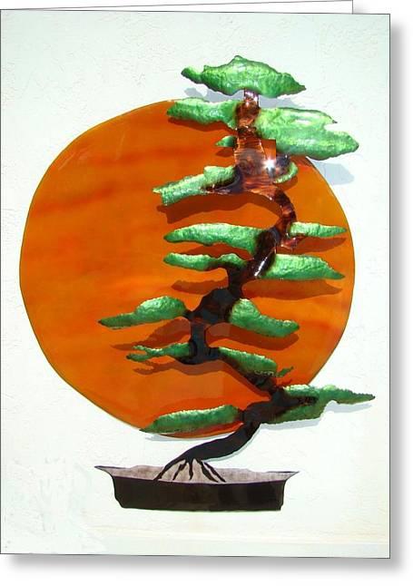 Bonsai At Sunset Greeting Card by Diane Snider