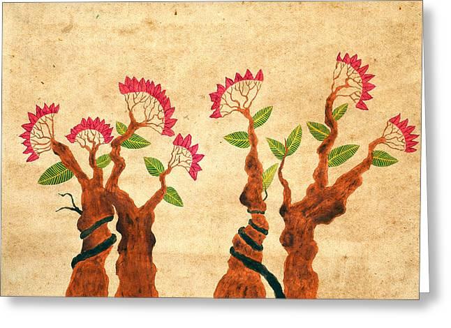 Bonsai Series 6 Vintage 2 Greeting Card by Sumit Mehndiratta