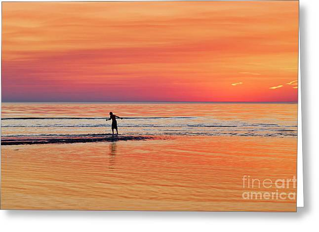 Boogie Board Sunset Greeting Card by John Greim