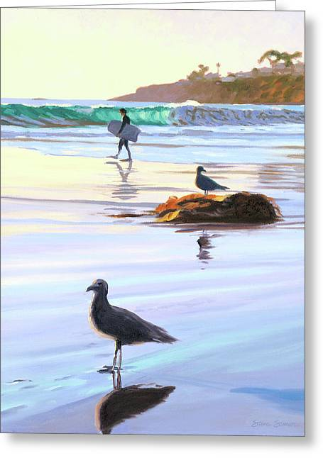 Boogie Boarder And Birds Greeting Card