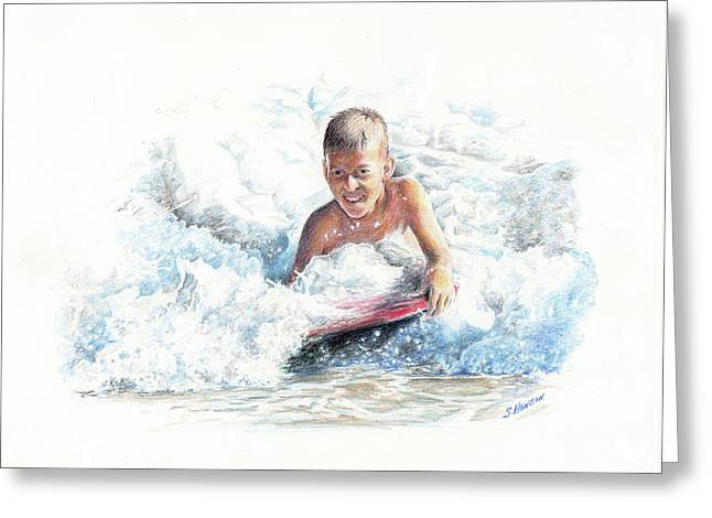 Boogie Boarding Greeting Card