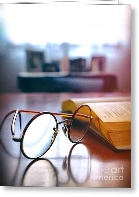 Book And Glasses Greeting Card by Carlos Caetano