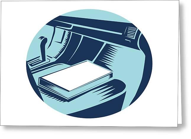 Book On Car Seat Oval Woodcut Greeting Card