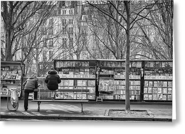 Book Stalls Along The Seine. Greeting Card