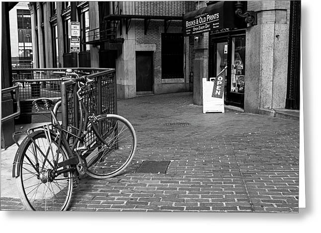 Books And Old Prints Devonshire Place Boston Ma Black And White Greeting Card