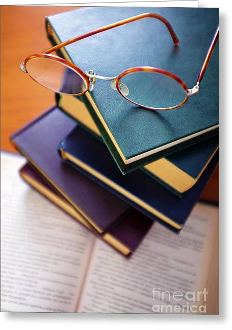 Books And Spectacles Greeting Card by Carlos Caetano
