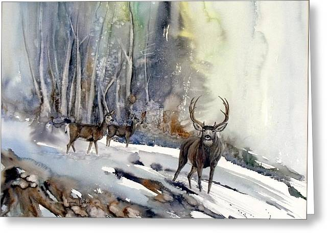 Boone And Crockett Greeting Card by Lynne Parker