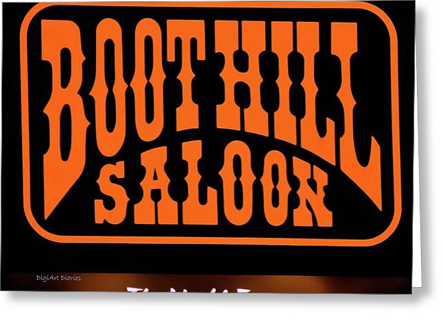 Boot Hill Saloon Sign Greeting Card by DigiArt Diaries by Vicky B Fuller