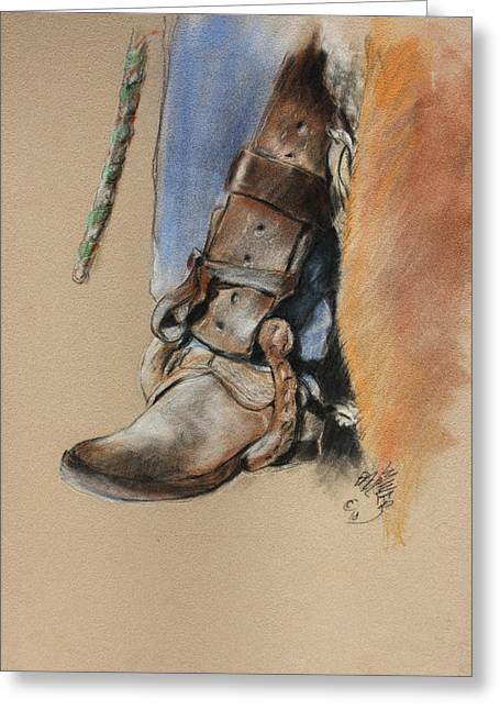 Boot In Oxbow Stirrup Greeting Card