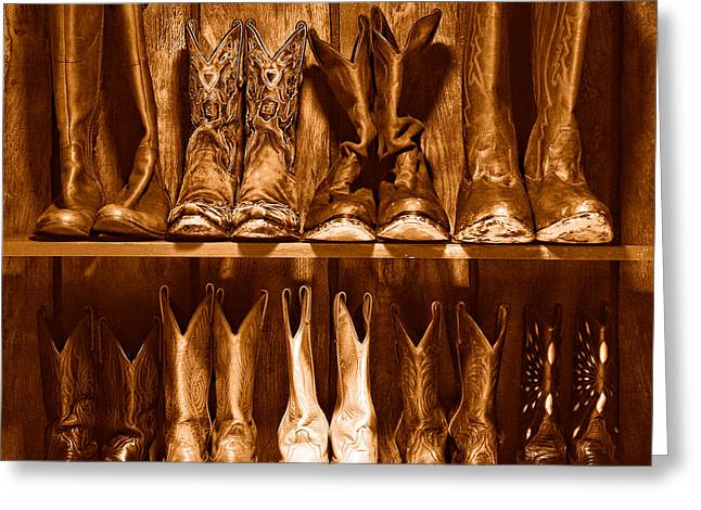 Boot Rack - Sepia Greeting Card by Olivier Le Queinec
