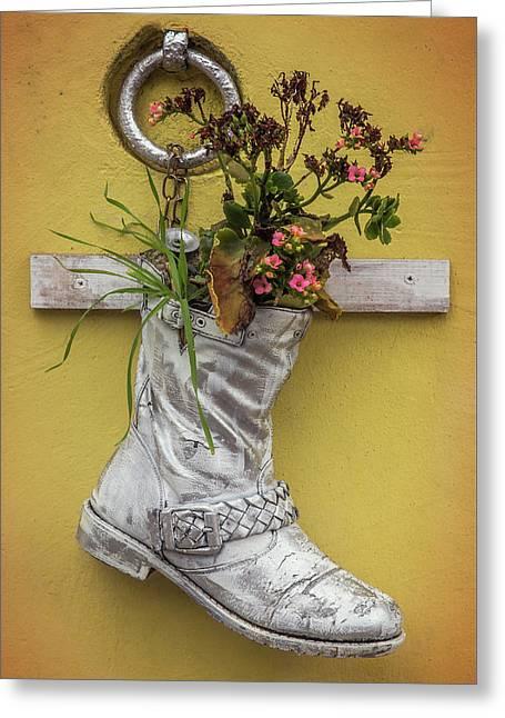 Boot Vase Greeting Card