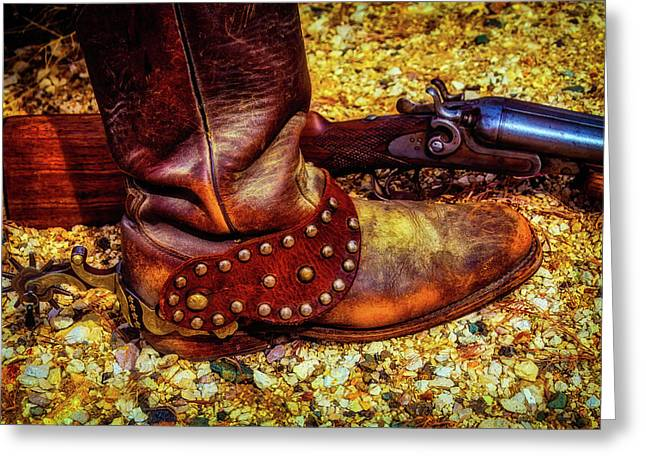 Boot With Spur And Shotgun Greeting Card