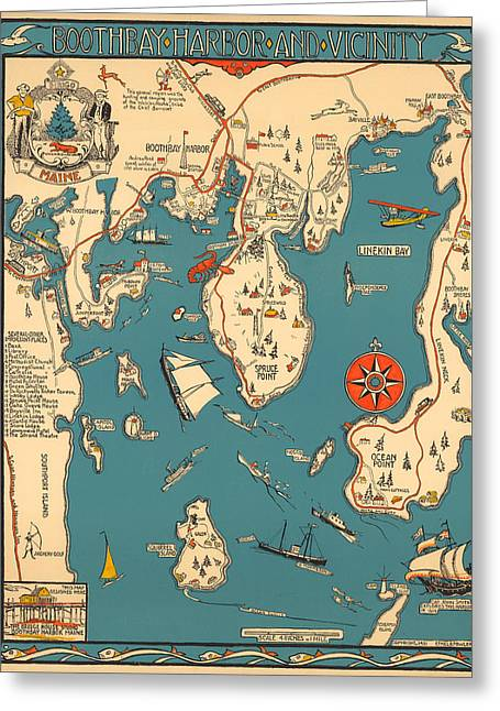 Boothbay Harbor And Vicinity - Vintage Illustrated Map - Pictorial - Cartography Greeting Card