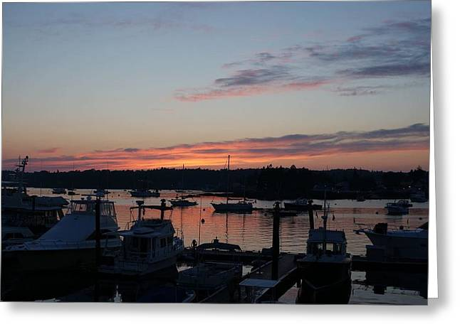 Boothbay Sunset Greeting Card by Lois Lepisto