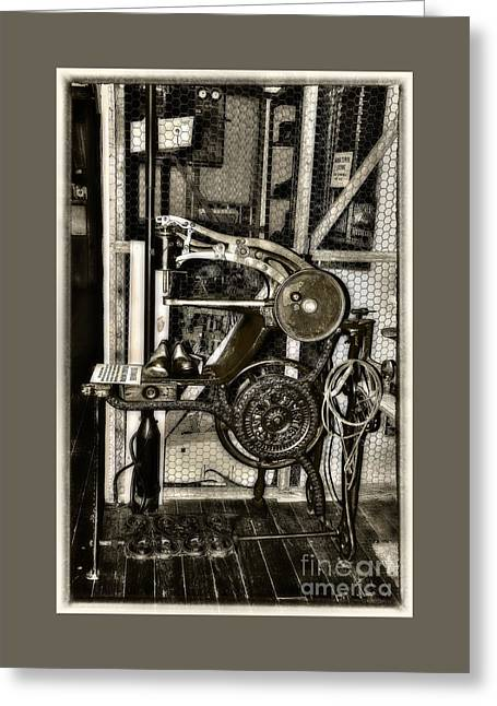 Bootmakers Antique Treadle Machine By Kaye Menner Greeting Card by Kaye Menner