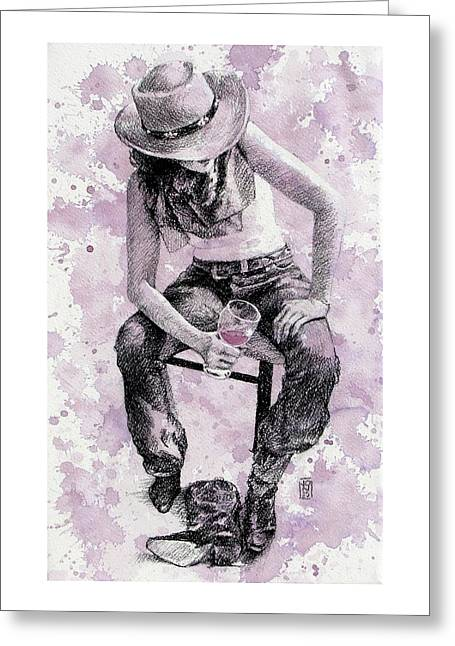 Boots Off   Evening On Greeting Card by Debra Jones