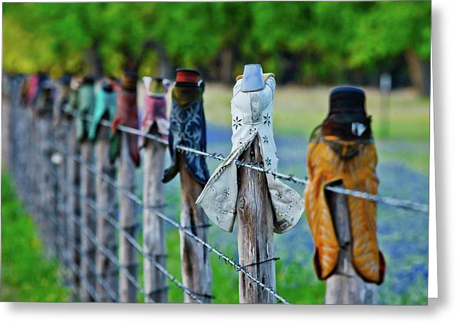 Boots On The Fence Greeting Card